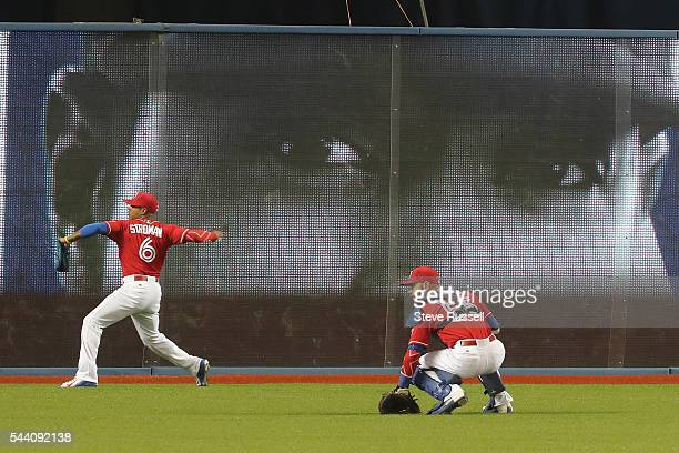 Toronto Blue Jays starting pitcher Marcus Stroman gets the start as the Toronto Blue Jays play the Cleveland Indians on Canada Day at the Rogers...