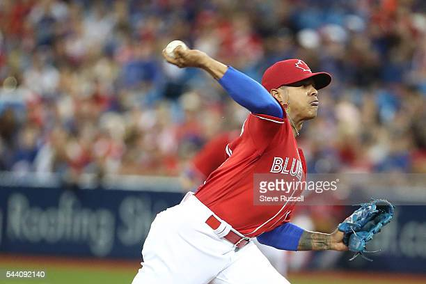TORONTO ON JULY 1 Toronto Blue Jays starting pitcher Marcus Stroman gets the start as the Toronto Blue Jays play the Cleveland Indians on Canada Day...