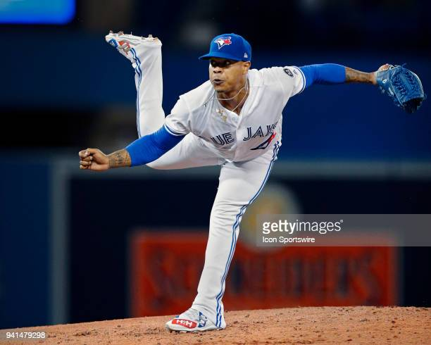 Toronto Blue Jays Starting pitcher Marcus Stroman pitches during the MLB game between the New York Yankees and the Toronto Blue Jays at Rogers Centre...