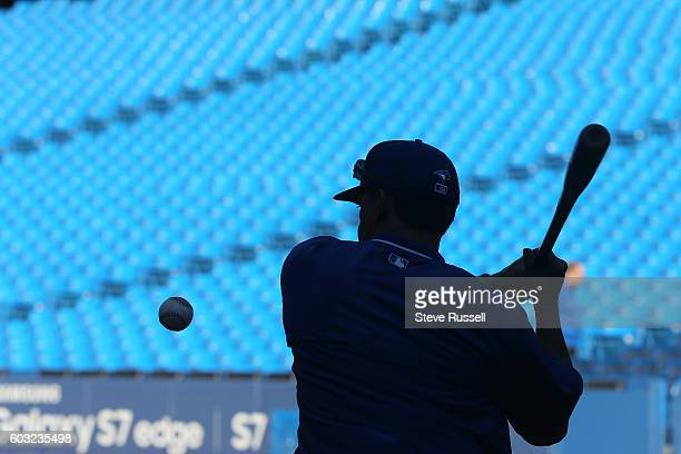 Toronto Blue Jays third base coach Luis Rivera hits grounds during batting practice as the Toronto Blue Jays play the Tampa Bay Rays in Toronto....