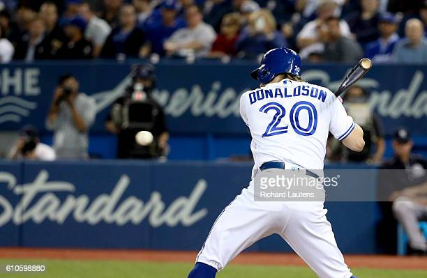 TORONTO ON SEPTEMBER 26 Toronto Blue Jays third baseman Josh Donaldson about to get hit by a pitch in the first inning that started off the bad blood...