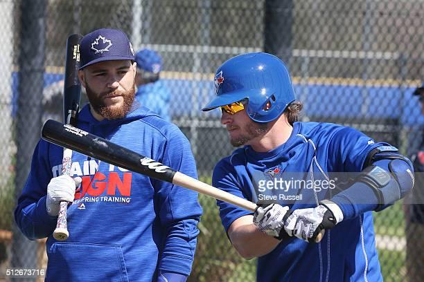 Toronto Blue Jays third baseman Josh Donaldson and Russell Martin talk about batting strategies Toronto Blue Jays Spring Training for the 2016 Major...