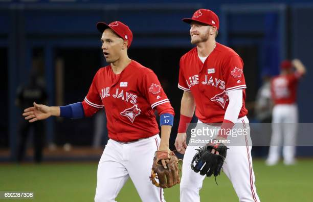 TORONTO ON JUNE 4 Toronto Blue Jays third baseman Josh Donaldson got the winning solo homer and is all smiles as he walks off the field at the end of...