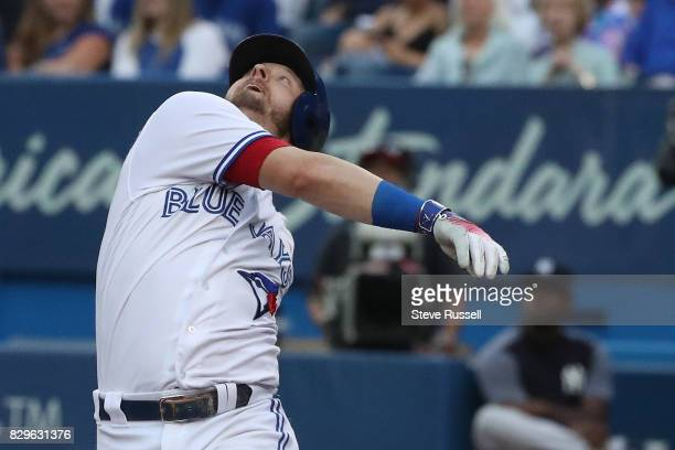 TORONTO ON AUGUST 10 Toronto Blue Jays third baseman Josh Donaldson pops up in the first inning as the Toronto Blue Jays shutout the New York Yankees...