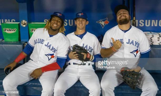 Toronto Blue Jays third baseman Vladimir Guerrero Jr Toronto Blue Jays second baseman Cavan Thomas Biggio and Toronto Blue Jays first baseman Rowdy...