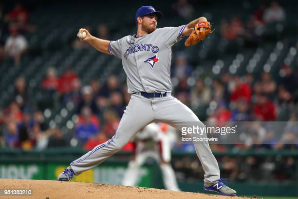 Toronto But Jays pitcher Joe Biagini delivers a pitch to the plate during the first inning of the Major League Baseball game between the Toronto Blue...