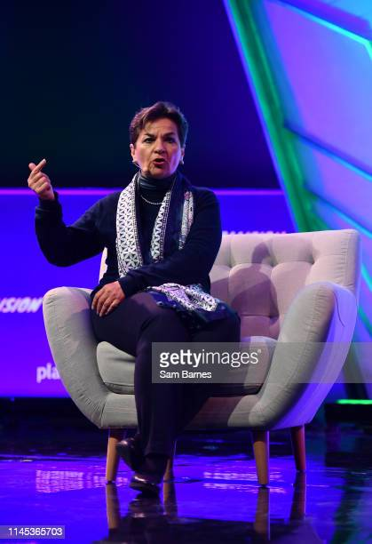 Toronto Canada 21 May 2019 Christiana Figueres Convenor Mission2020 on planet tech Stage during day one of Collision 2019 at Enercare Center in...