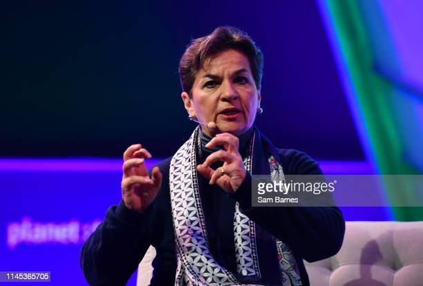 Toronto , Canada - 21 May 2019; Christiana Figueres, Convenor, Mission2020, on planet : tech Stage during day one of Collision 2019 at Enercare...