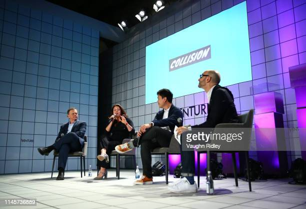 Toronto Canada 23 May 2019 Terry Tamminen CEO Leonardo DiCaprio Foundation left Liesel Pritzker Simmons CoFounder Blue Haven Initiative Aaron Fu...