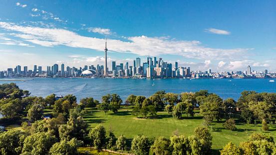 Toronto, Canada, Aerial View of Toronto Skyline and Lake Ontario 1155550865
