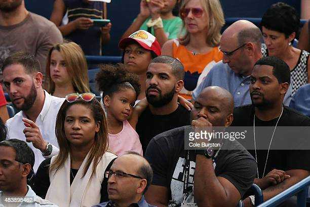 Toronto Canada August 13 Toronto Rapper Drake watches the match between Serena Williams and Andrea Petkovic during Rogers Cup Tennis action at the...
