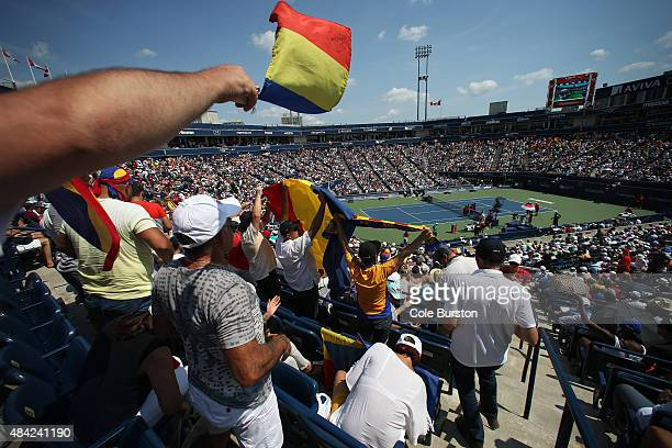 Toronto Canada August 16 Fans wave Romanian flags as Romania's Simona Halep plays against Switzerland's Belinda Bencic at Rogers Cup Tennis finals at...