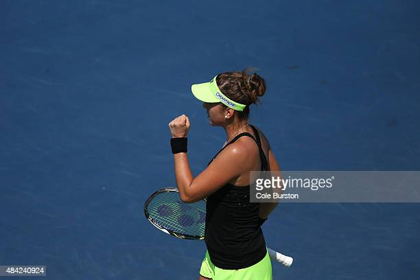 Toronto Canada August 16 Switzerland's Belinda Bencic celebrates a point on Romania's Simona Halep during Rogers Cup Tennis finals at the Aviva...