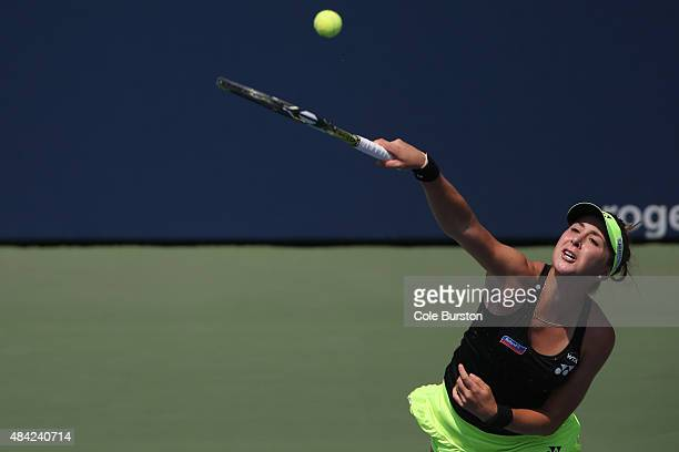 Toronto Canada August 16 Switzerland's Belinda Bencic makes a serve to Romania's Simona Halep during Rogers Cup Tennis finals at the Aviva Centre on...