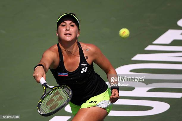 Toronto Canada August 16 Switzerland's Belinda Bencic returns a ball to Romania's Simona Halep during Rogers Cup Tennis finals at the Aviva Centre on...