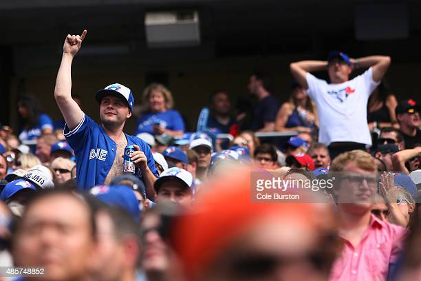 Toronto Canada August 29 Fans get into the game during MLB action against the Detroit Tigers at the Rogers Centre in Toronto on August 29 2015