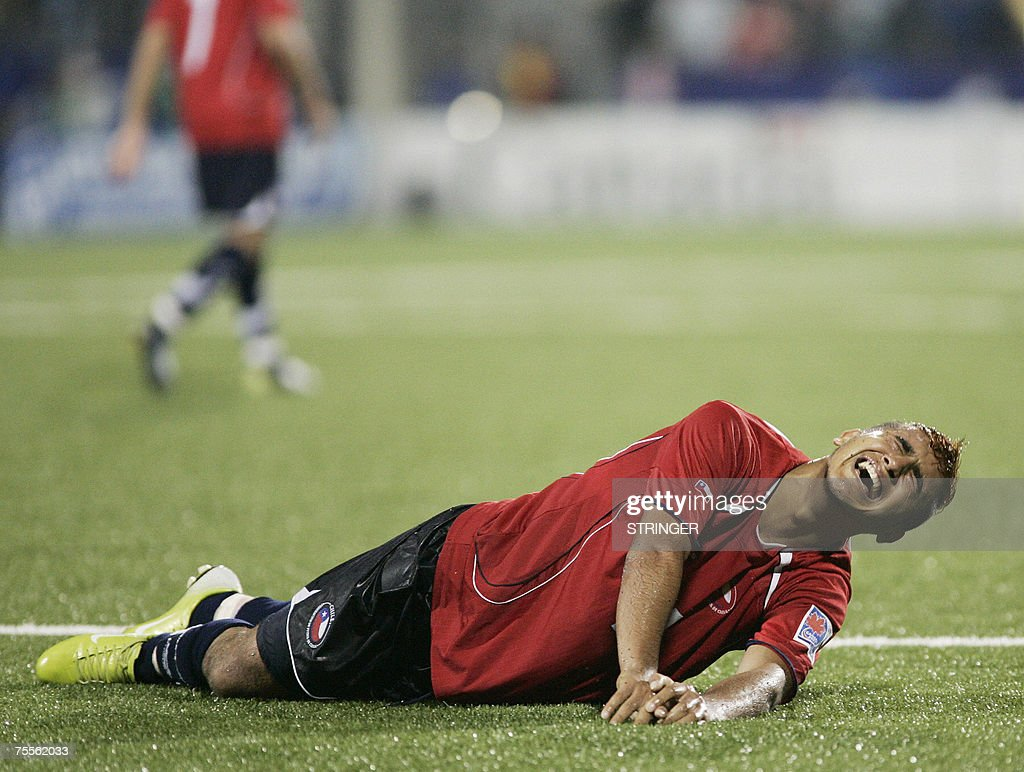 Chile's Arturo Vidal lies on the ground in the dying minutes of their 0-3 semi-final loss to Argentina at the FIFA U-20 World Cup on 19 July 2007 in Toronto, Ontario, Canada.