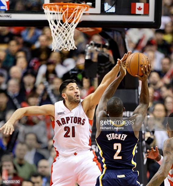 Toronto Canada December 12 In second half action Toronto Raptors guard Greivis Vasquez brings the defence against Indiana Pacers guard Rodney Stuckey...