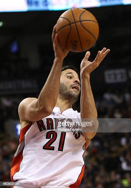 Toronto Canada December 12 In second half action Toronto Raptors guard Greivis Vasquez makes a pass The Toronto Raptors beat the Indiana Pacer 10694...