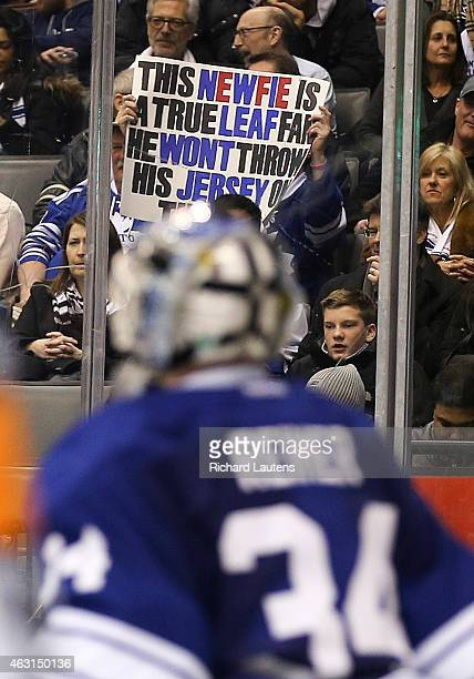 Toronto Canada February 10 In second period action A leaf fans shows what he thinks of his jersey The Toronto Maple Leafs took on the New York...