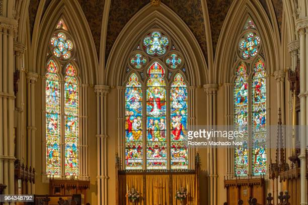 toronto canada: indoors in the saint james cathedral church - cathedral stock pictures, royalty-free photos & images