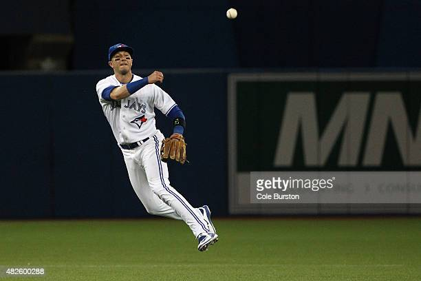 Toronto Canada July 31 Toronto Blue Jays shortstop Troy Tulowitzki makes a throw to first base during MLB action against the Kansas City Royals at...