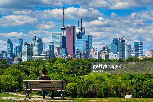 toronto canada man at riverdale park - toronto stock pictures, royalty-free photos & images