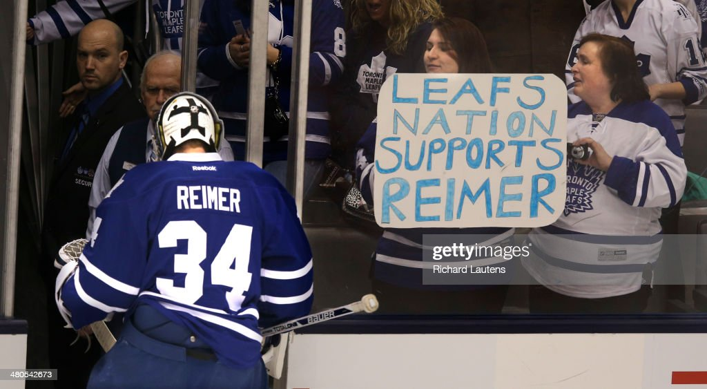 Toronto, Canada - March 25 - In the warm-up pre-skate, fans of beleaguered goalie James Reimer greet him as he leaves the ice. The Toronto Maple Leafs took on the St. Louis Blues at the Air Canada Centre in Toronto on Tuesday. March 25, 2014