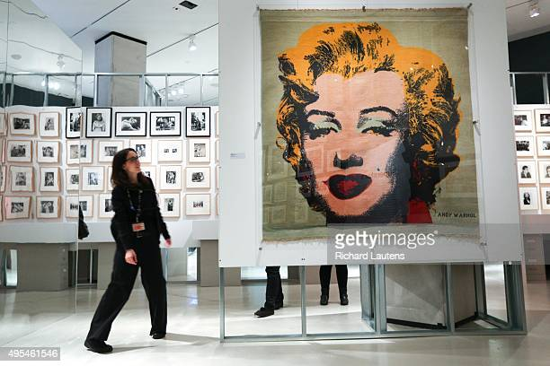 Toronto Canada October 29 2015 An enormous silk screen of Marilyn Monroe is one of the centre pieces The TIFF Bell Lightbox is hosting an Andy Warhol...