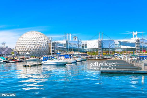 toronto canada: the marina inside ontario place featuring the exterior of the cinesphere. - ontario canada stock pictures, royalty-free photos & images