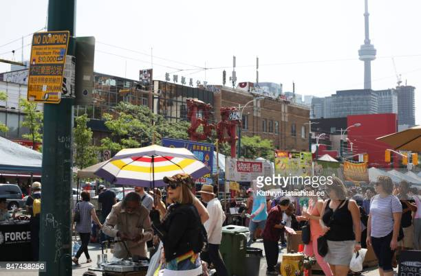 toronto chinatown festival, spadina avenue in summer - chinatown stock pictures, royalty-free photos & images