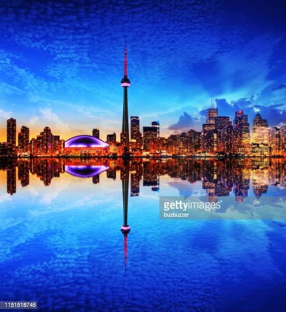 toronto city and the cn tower at night - buzbuzzer stock pictures, royalty-free photos & images