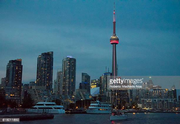 Toronto City at night Urban skyline including the CN Tower View from Lake Ontario