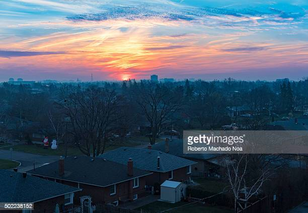 Toronto city beautiful Winter sunrise 2015 cold season has been gentle looking more like Fall and featuring amazingly atypical sunrises