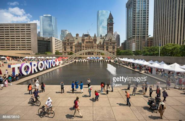 toronto city hall and sign ontario canada - mayor stock pictures, royalty-free photos & images