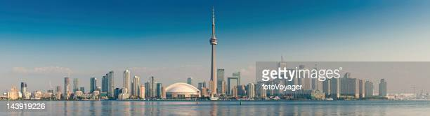 toronto cn tower cityscape sunrise panorama canada - cn tower stock pictures, royalty-free photos & images