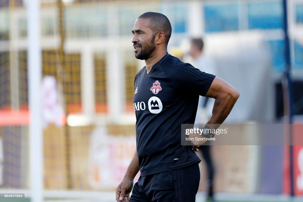 Toronto FC assistant coach Robin Fraser before a match between the New England Revolution and Toronto FC on September 23. 2017, at Gillette Stadium in Foxborough, Massachusetts. The Revolution defeated Toronto 2-1.