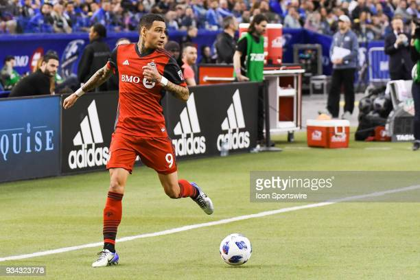 Toronto FC defender Gregory van der Wiel looks for a pass target on his left during the Toronto FC versus the Montreal Impact game on March 17 at...