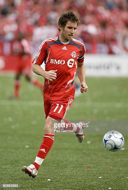Toronto FC defender Jim Brennan controls the ball during the match against the Kansas City Wizards on April 26 2008 at BMO Field in Toronto Ontario
