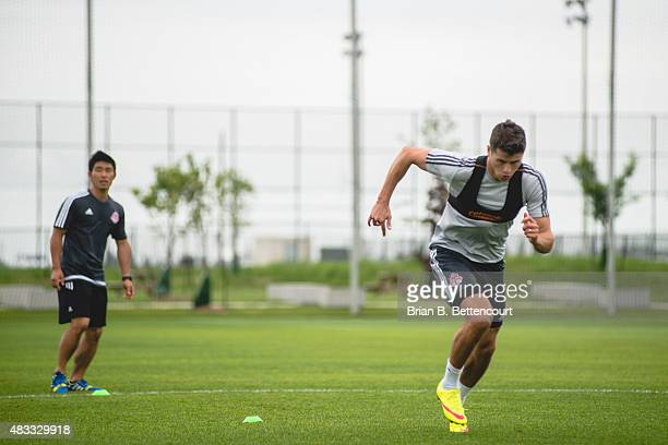 Toronto FC defender Mark Bloom wears a tracking vest during his team's morning practice on June 30 2015 The vests are part of a new system the club...