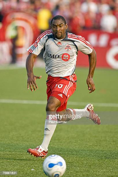 Toronto FC defender Marvell Wynne chases the ball during the friendly match against Aston Villa at BMO Field in Toronto, Ontario, Canada on July 25,...
