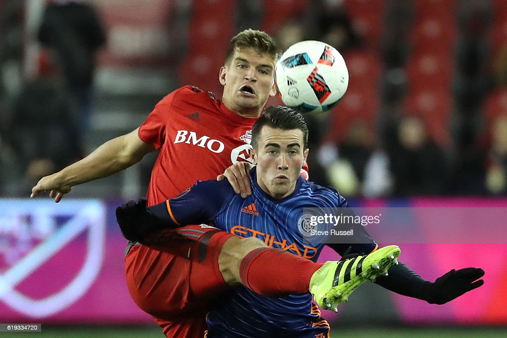 Toronto FC beat New York City FC 2-0 in the first game of a home and home in the MLS Cup semi-finals : News Photo