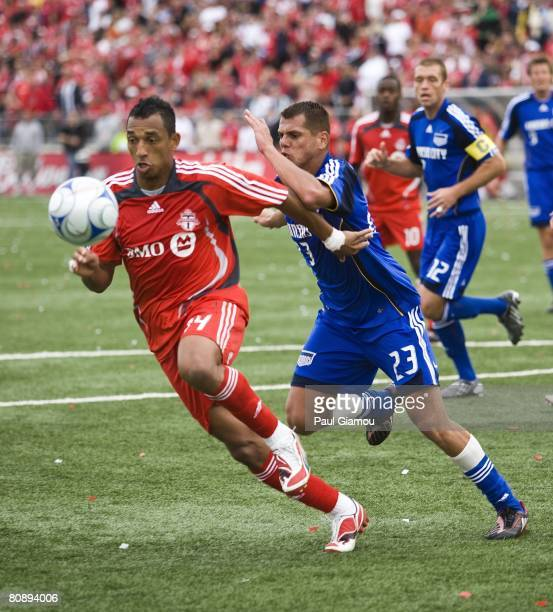 Toronto FC defender Tyrone Marshall tries to clear the ball from Kansas City Wizards forward Ivan Trujillo during their game on April 26 2008 at BMO...