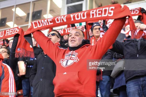 BMO FIELD TORONTO ONTARIO CANADA Toronto FC fans during 2019 MLS Regular Season match between Toronto FC and New England Revolution at BMO Field in...