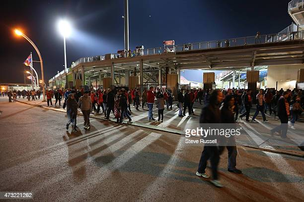 Toronto FC fans leave the stadium after Toronto beat the Montreal Impact 3-2 in the Semi-Final of the Amway Canadian Championship at BMO Field in...