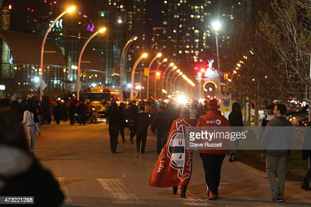 TORONTO ON MAY 13 Toronto FC fans leave the stadium after Toronto beat the Montreal Impact 32 in the SemiFinal of the Amway Canadian Championship at...