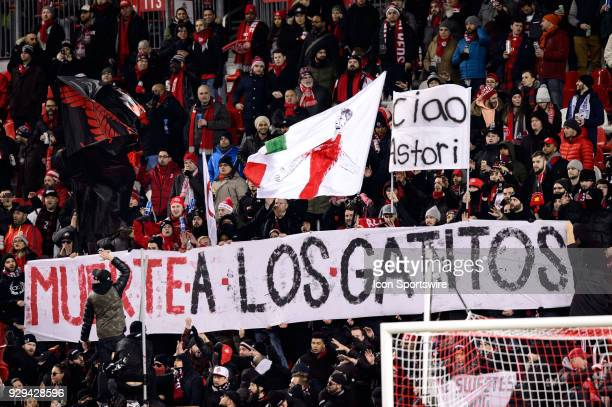 Toronto FC fans pay tribute to the late Davide Astori before the CONCACAF Champions League Quarterfinal match between Toronto FC and Tigres UANL on...