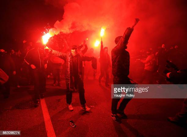 Toronto FC fans walk toward the stadium prior to kick off of the MLS Eastern Conference Finals Leg 2 game between Columbus Crew SC and Toronto FC at...