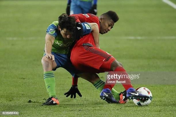 TORONTO ON DECEMBER 10 Toronto FC forward Armando Cooper battles for the ball as Toronto FC plays Seattle Sounders in the MLS Cup Final in Toronto...