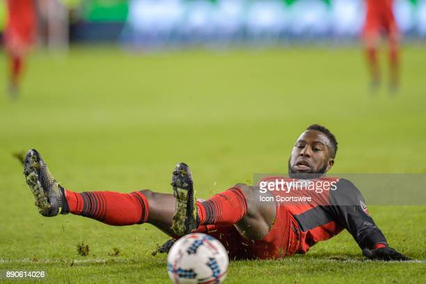 Toronto FC Forward Jozy Altidore is taken down on a tackle by Seattle Sounders Defender Gustav Svensson during the MLS Cup Final played between the...